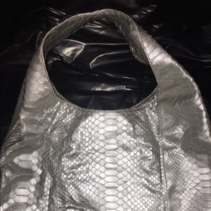 Silver Metallic Python Hobo Bag